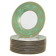 Set of 12 Spectacular Green and Gilt Minton Lunch Plates