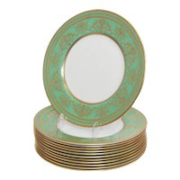 Set of 12 Spectacular Green and Gilt Minton Dinner Plates