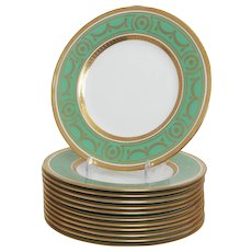 Set of 12 Minton for Tiffany Green and Gilt Dinner Plates