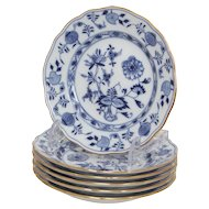 Set of 6 Meissen Blue Onion Pattern with Gilt Rims