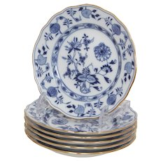 Set of 6 Meissen Blue Onion Pattern with Gilt Rims