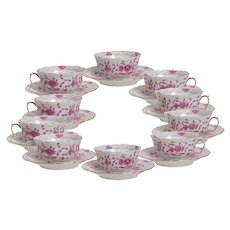 Set of 10 Meissen Purple Indian Cups with Saucers
