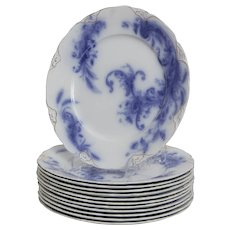 Wentworth by J& G Meakin Flow Blue Set of 12 Dinner Plates.