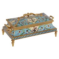 Antique French Champleve Jewelry Box