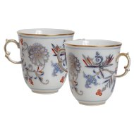 Pair of Meissen Blue Onion Rich Two Handled Cups