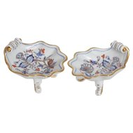 Pair of Blue Onion Rich Footed Serving Dishes