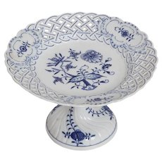 Meissen Blue Onion Reticulated Compote