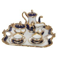 Meissen Cobalt Blue and Gilt Tea Set with Tray