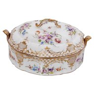 Dresden Richard Klemm signed Covered Tureen with gilt accents