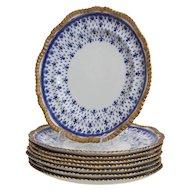 Set of 8 W. T. Spode Stoke on Trent  Royal Blue Fleur-de-Lys Dinner Plates