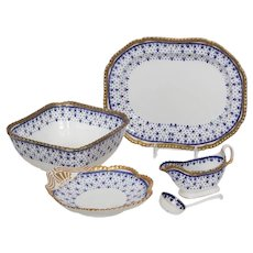 W. T. Spode Stoke on Trent  Royal Blue Fleur-de-Lys  Serving Pieces