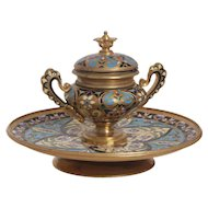 Antique French Champleve Inkwell