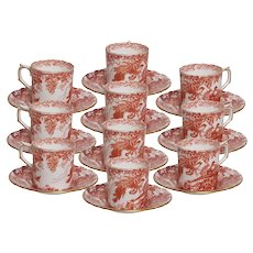 Set of 10 Royal Crown Derby Red Aves Demitasse Cups and Saucers