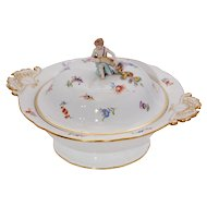 Large Meissen Covered Serving Dish with Figurine top Handle
