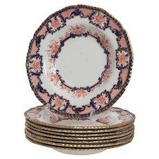 Set of 8 Royal Crown Derby Imari Bowls Plates Dated 1900