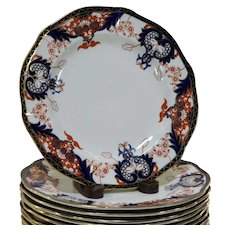 Set of 16 Royal Crown Derby Imari Kings Pattern Dinner Plate 1891-1896