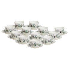 Royal Worcester Lavinia Set of 12 Coffee Cups with Saucers
