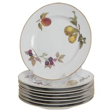 Royal Worcester Evesham Gold Pattern  8 Salad Plates