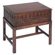 Carved English Chest on Stand