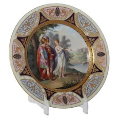 Painted Plate with raised Gilt in the Style of Royal Vienna
