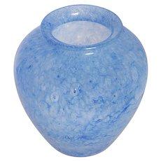 Signed Steuben Frederick Carder Cluthra Blue Glass Vase