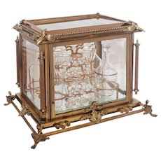 19th Century French Gilt Bronze and Glass Fitted Tantalus/Cave a' Liqueur