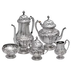 Hand Chased Sterling Silver Ellmore 5 piece Tea Set
