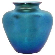 Signed Steuben Frederick Carder Blue Aurene Glass Vase