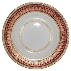Set of 12 Minton Cranberry Red and Gilt Dinner Plates