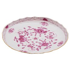 Meissen Purple Indian Platter with Scalloped Gilt Rim