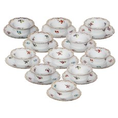 Set of 11 Dresden Ramekins with Saucers
