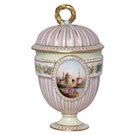 Dresden Cup with lid and Quatrefoil Handle. Circa 1890's