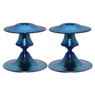 Pair of Signed Steuben Frederick Carder Blue Aurene Candlesticks