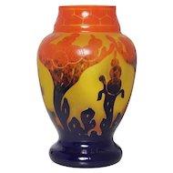 Stunning Le Verre Français vase Signed Charles Schneider