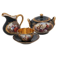 Royal Vienna Style, Hand Painted and Gilt covered Sugar Bowl, Creamer, Tea Cup and Saucer