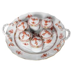 Vintage Set of 6  Herend Chinese Bouquet Rust Pot de Creme lidded Cups with Handled Serving Tray