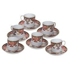 Royal Crown Derby Imari Set of 6 demitasse cups and saucers