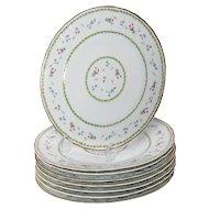 Limoges Bernaurdaud Artois  Set of 8 Porcelain Dinner Plates