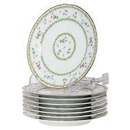 Limoges Bernaurdaud Artois  Set of 8 Porcelain Salad Dinner Plates