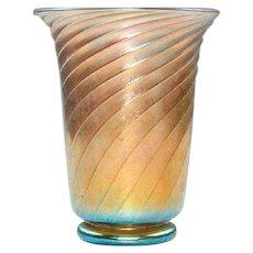 Signed Frederick Carder Steuben Gold Aurene Vase with Vibrant Blue Iridescence #6090