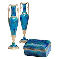 Sevres Paul Milet Pair of Vases with matching box