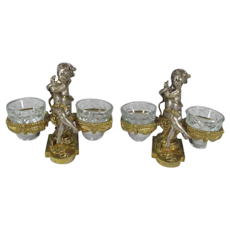 Pair of Antique Signed Baccarat Figural Carved Bronze and Crystal Holders or Salt Cellars