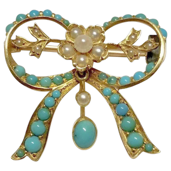 Turquoise and Cultured Pearl Pin