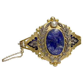 Lapis Cameo 14k Gold Locket Bracelet