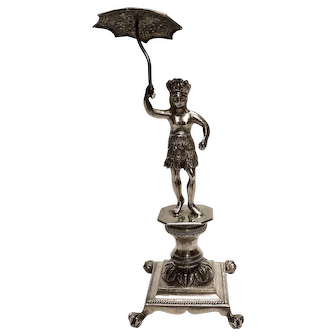 Spanish Colonial Figural Silver Toothpick Holder