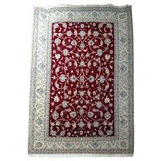 """Persian Rug - 1980s Hand-Knotted Wool & Silk Nain, 8' x 11'6"""" (1077)"""