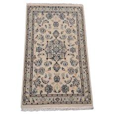 Persian Rug - 1990s Hand-Knotted Wool & Silk Nain Carpet (2209)