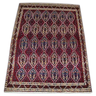 "Persian Rug - 1990s Hand-Knotted Afshar-Shiraz, 4'3"" x 6' (2492)"
