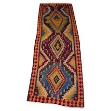 Persian Rug - 1950s Handmade Flatweave Shiraz Kelim Runner (2534)