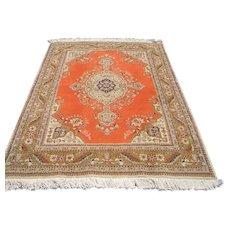 Persian Rug - 1970s Retro, Hand-Knotted Tabriz Tabatabaie Carpet (3011)